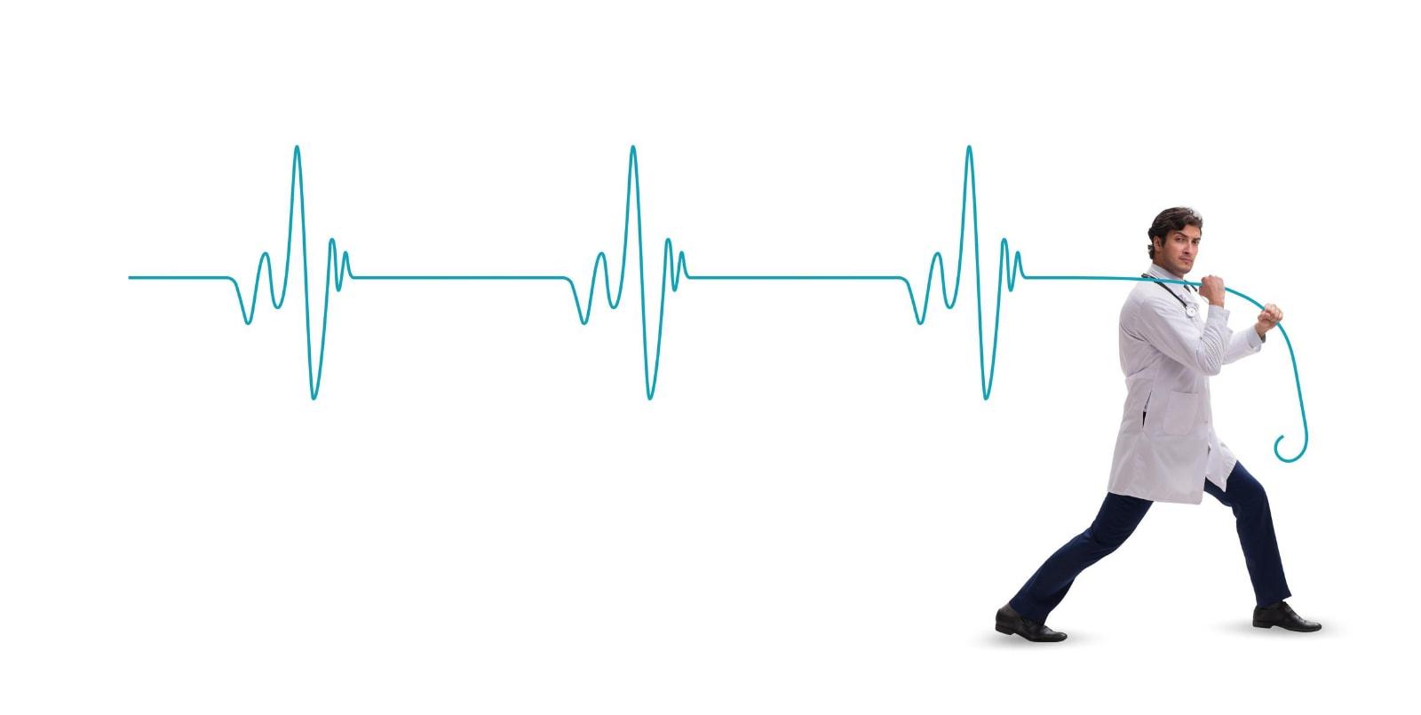 doctor pulling heartbeat
